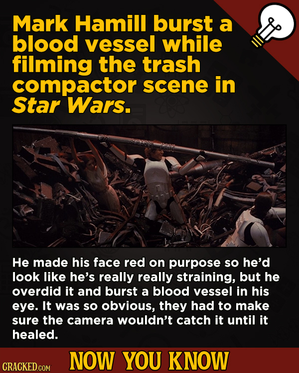 13 Obscure, Cool Chunks Of Movie And General Trivia - Mark Hamill burst a blood vessel while filming the trash compactor scene