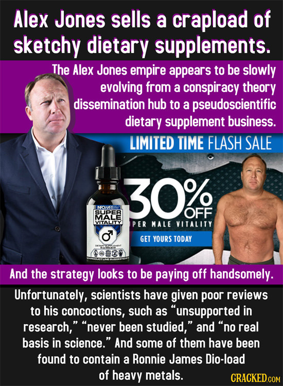 Alex Jones sells a crapload of sketchy dietary supplements. The Alex Jones empire appears to be slowly evolving from a conspiracy theory dissemination