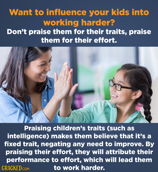 Want to influence your kids into working harder? Don't praise them for their traits, praise them for their effort. Praising children's traits (such as