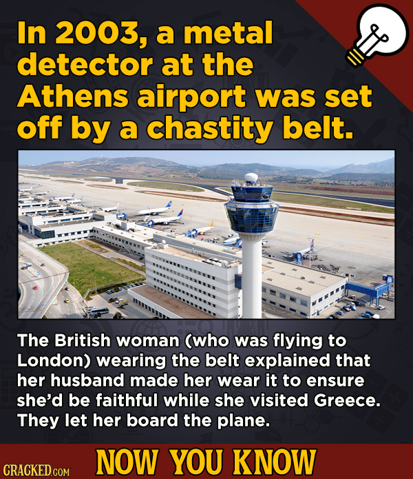 13 Obscure, Cool Chunks Of Movie And General Trivia - In 2003, a metal detector at the Athens airport was set off by a chastity