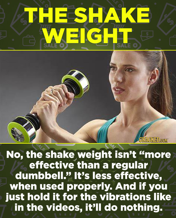 "16 Products In Wide Use (That Don't Do Much) - No, the shake weight isn't ""more effective than a regular dumbbell."" It's less effective, when used pro"