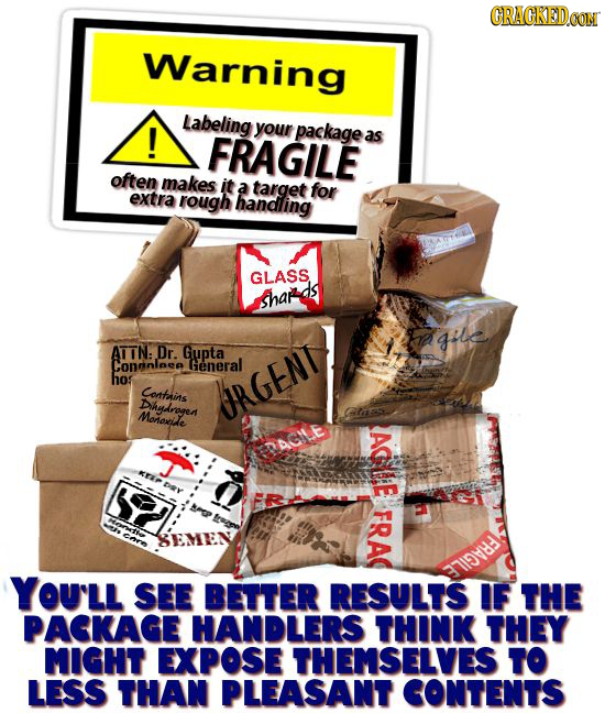 CRACKEDCON Warning Labeling ! your package FRAGILE as often makes it a target for extra rough handling GLASS shar gtle ATTN: Dr. Gupta Congnlaea Gener