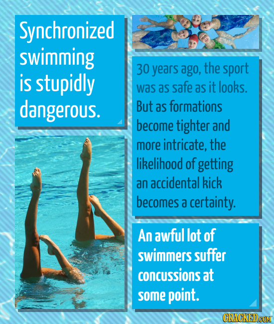 Synchronized swimming 30 years ago, the sport is stupidly was as safe as it looks. dangerous. But as formations become tighter and more intricate, the