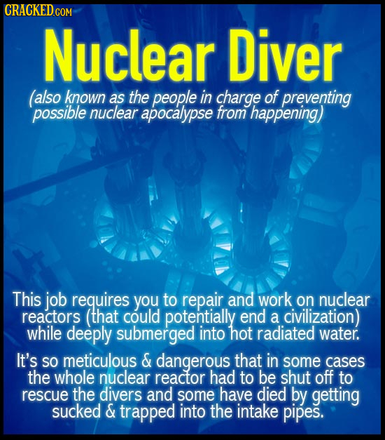 CRACKED CO COM Nuclear Diver also known as the people in charge of preventing possible nuclear apocalypse from happening) This job requires You to rep