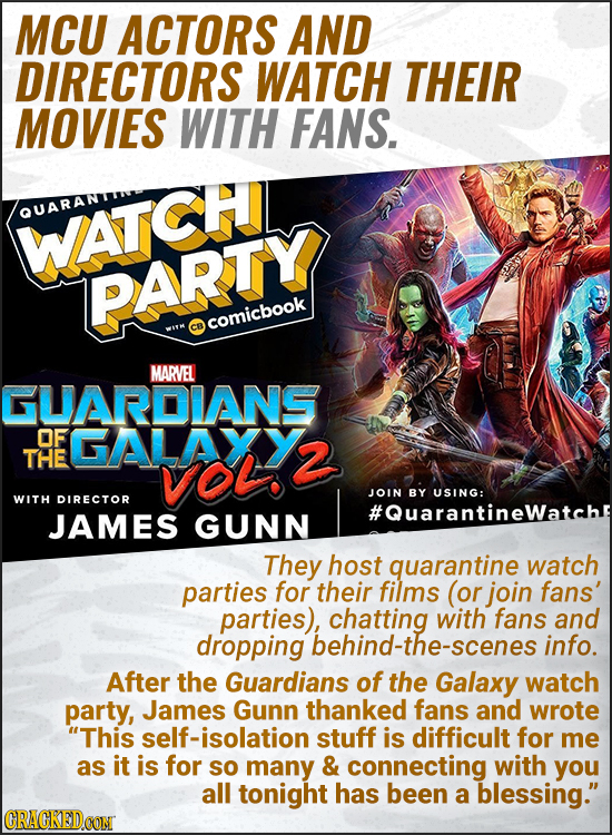 MCU ACTORS AND DIRECTORS WATCH THEIR MOVIES WITH FANS. QUARAN WATCH PARTY comicbook MARVEL GUARDIANS OF FGALAXY THE VOlo 2 JOIN BY USING: WITH DIRECTO