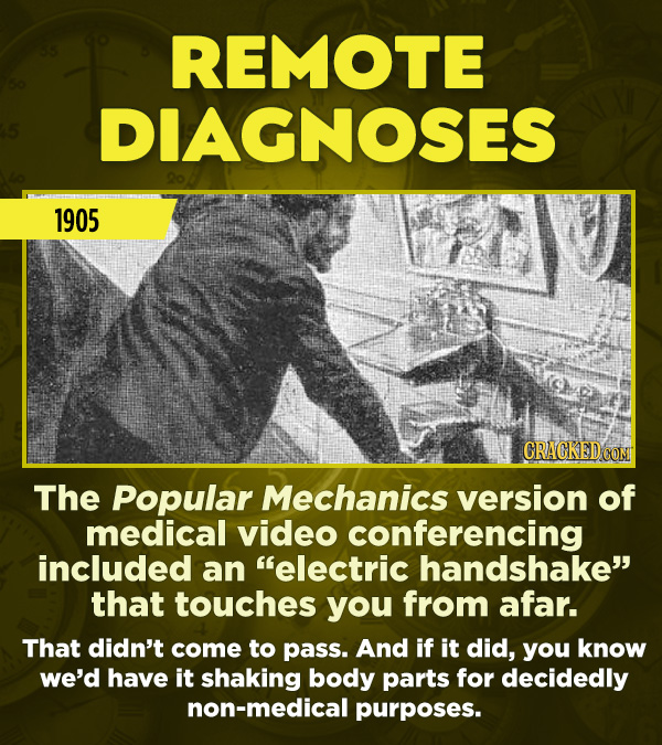 "15 Really Inaccurate Predictions About The Future - The Popular Mechanics version of medical video conferencing included an ""electric handshake"" that"