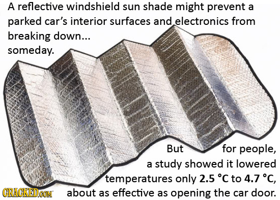 A reflective windshield sun shade might prevent a parked car's interior surfaces and electronics from breaking down... someday. But for people, a stud