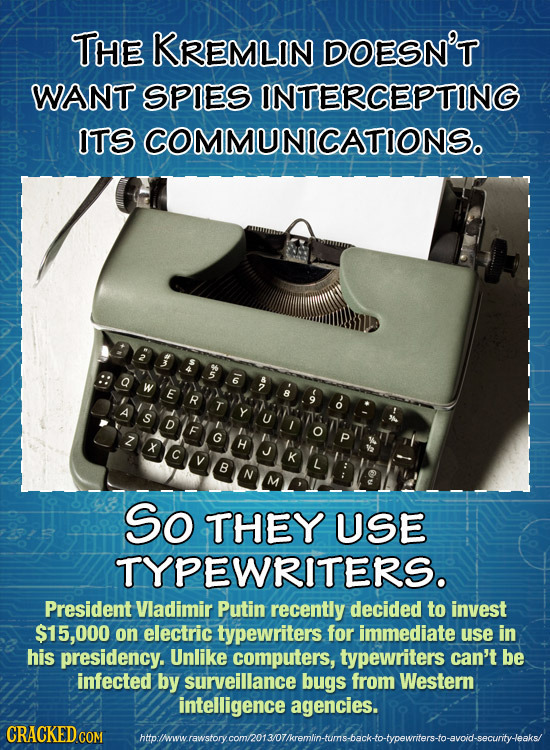 THE KREMLIN DOESN'T WANT SPIES INTERCEPTING ITSCOMMUNICATIONS. E R Y D G H K B So THEY USE TYPEWRITERS. President Vladimir Putin recently decided to i
