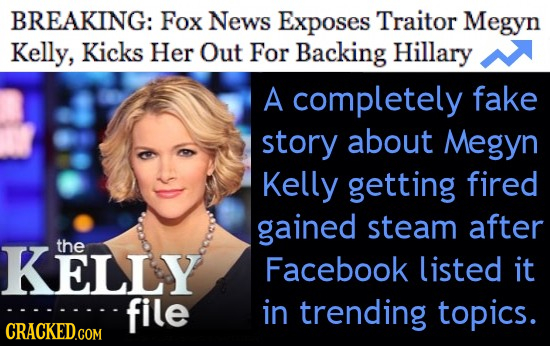 BREAKING: Fox News Exposes Traitor Megyn Kelly, Kicks Her Out For Backing Hillary A completely fake story about Megyn Kelly getting fired gained steam