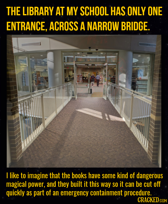 THE LIBRARY AT MY SCHOOL HAS ONLY ONE ENTRANCE, ACROSS A NARROW BRIDGE. I like to imagine that the books have some kind of dangerous magical power, an