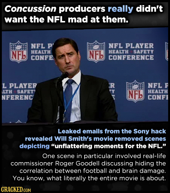 Concussion producers really didn't want the NFL mad at them. NFL P NFL PLAYER NFb HEALTH NFb HEALTH SAFETY CONFE CONFERENCE L PLAYER R NFL P LTH SAFET