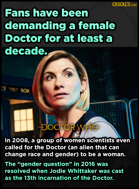 CRACKED c COM Fans have been demanding a female Doctor for at least a decade. CE 2 BOX DOCTOR WHO In 2008, a group of women scientists even called for