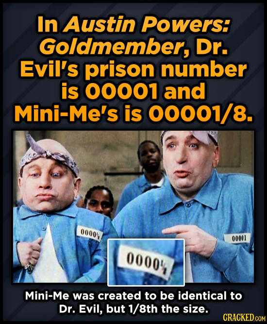 In Austin Powers: Goldmember, Dr. Evil's prison number is 00001 and Mini-Me's is 00001/8. 0000 00001 00001 Mini-Me was created to be identical to Dr.