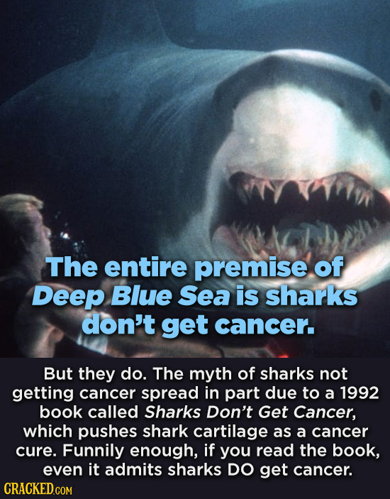 The entire premise of Deep Blue Sea is sharks don't get cancer. But they do. The myth of sharks not getting cancer spread in part due to a 1992 book c