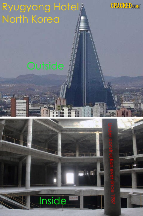 Ryugyong Hotel CRACKEDCO North Korea Outside under construction ever Since Inside 1987