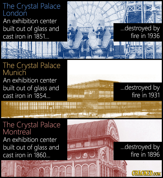 The Crystal Palace London An exhibition center built out of glass and ...destroyed by cast iron in 1851... fire in 1936 The Crystal Palace Munich An e