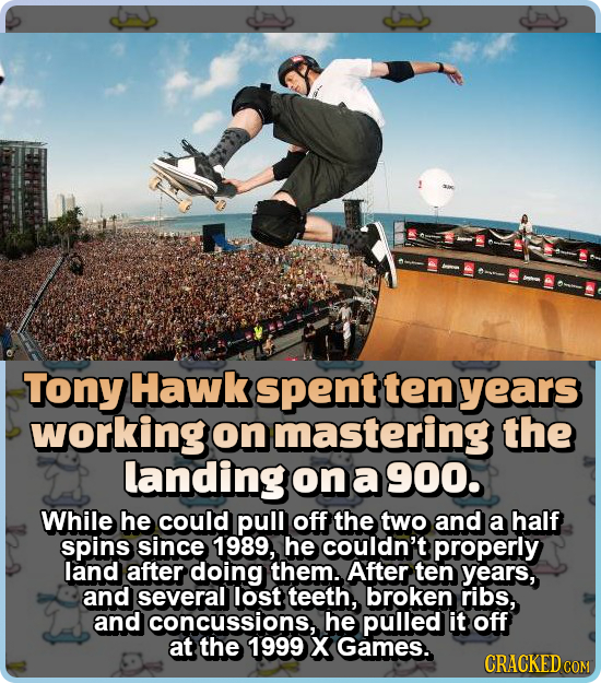 Tony Hawk spent ten years working on mastering the landing on a 900. While he could pull off the two and a half spins since 1989, he couldn't properly