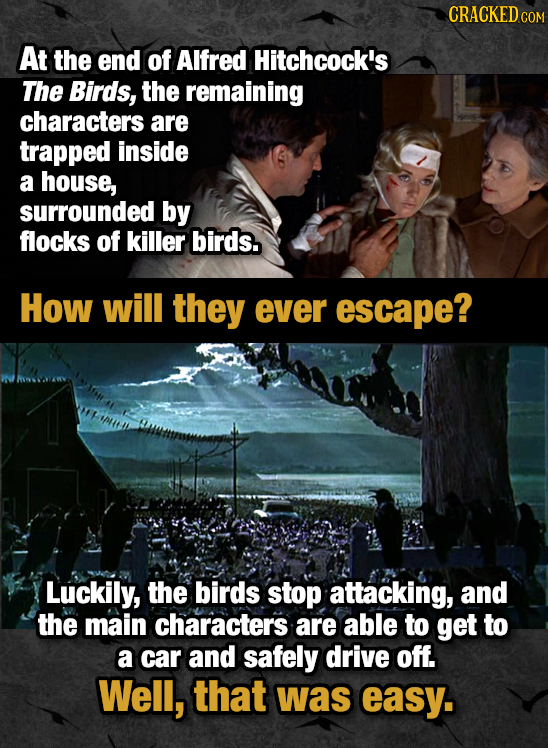 CRACKED COM At the end of Alfred Hitchcock's The Birds, the remaining characters are trapped inside a house, surrounded by flocks of killer birds. How