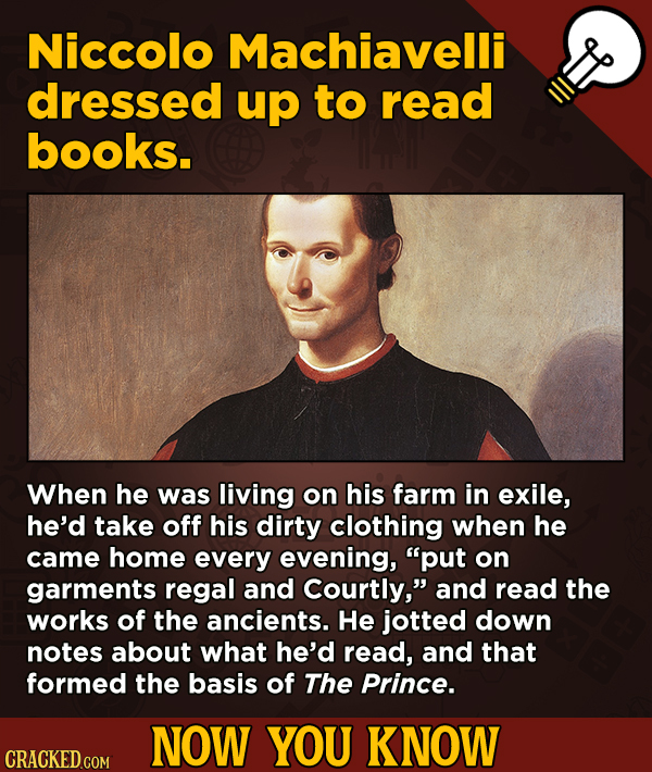 A Big Helping Of Little-Known About Movies (And Other Stuff)Niccolo Machiavelli dressed up to read books.