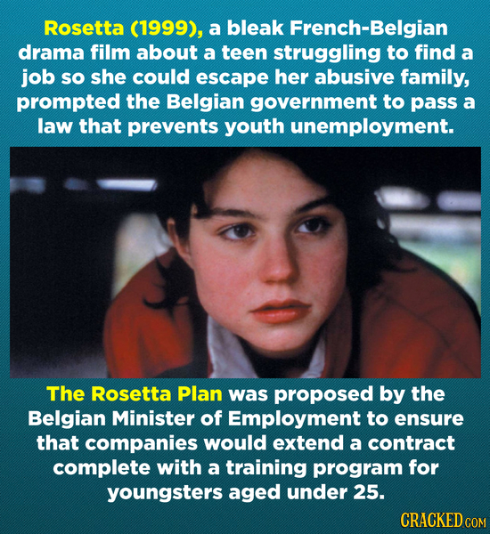 Rosetta (1999), a bleak French-Belgian drama film about a teen struggling to find a job sO she could escape her abusive family, prompted the Belgian g