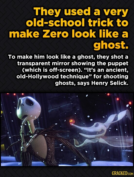They used a very old-school trick to make Zero look like a ghost. To make him look like a ghost, they shot a transparent mirror showing the puppet (wh