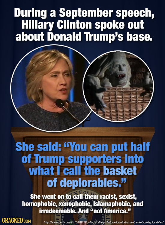 During a September speech, Hillary Clinton spoke out about Donald Trump's base. She said: You can put half of Trump supporters into what I call the b