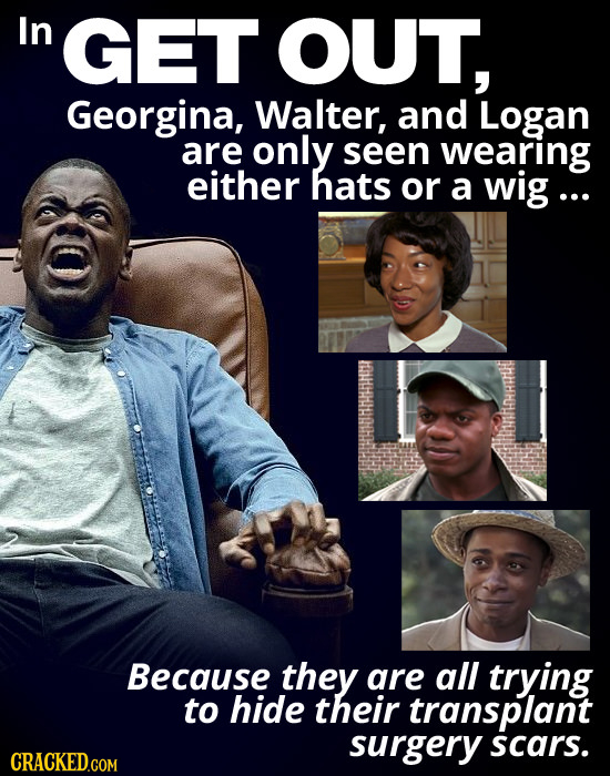 In GET OUT, Georgina, Walter, and Logan are only seen wearing either hats or a wig... Because they are all trying to hide their transplant surgery sca