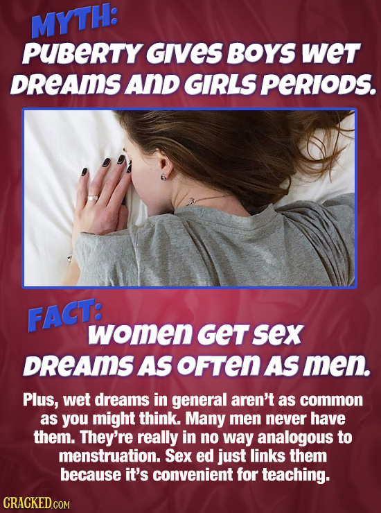 MY'TH: PUBERTY Gives BOYS wet DREAMS AnD GIRLS Perlods. FACT: women GET sex DREAMS AS oFTEN AS men. Plus, wet dreams in general aren't as common as yo