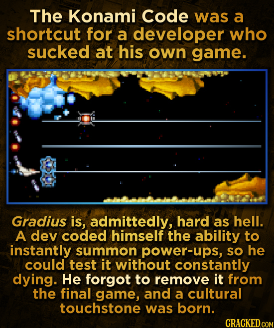 The Konami Code was a shortcut for a developer who sucked at his own game. Gradius is, admittedly, hard as hell. A dev coded himself the ability to in