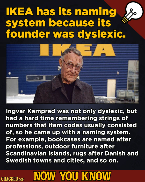 A Big Helping Of Little-Known About Movies (And Other Stuff)IKEA has its naming system because its founder was dyslexic.