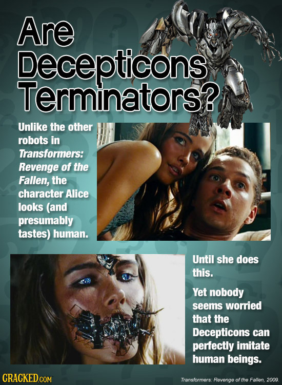 Are Decepticons Terminators? Unlike the other robots in Transformers: Revenge of the Fallen, the character Alice looks (and presumably tastes) human.