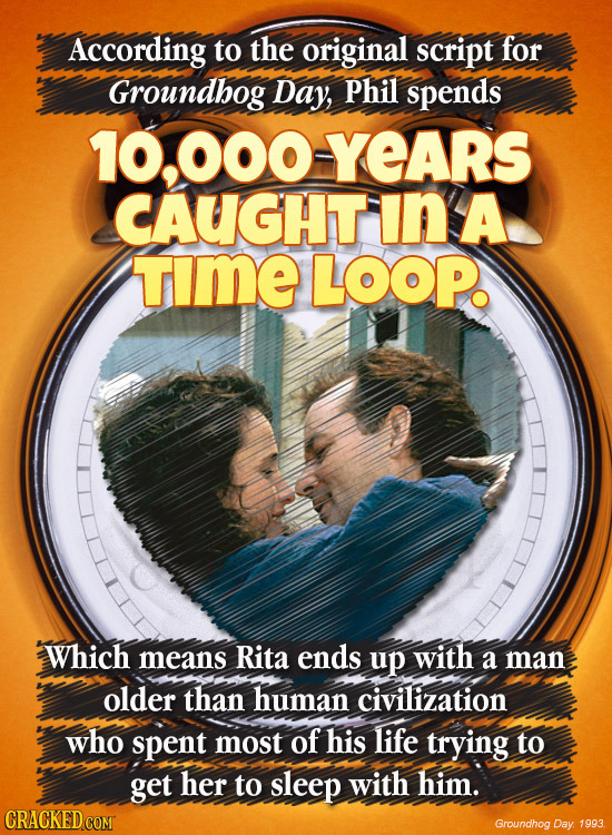 According to the original script for Groundhog Day, Phil spends 10,000YEARS CAUGHT In A TmE LOOP Which means Rita ends up with a man older than human