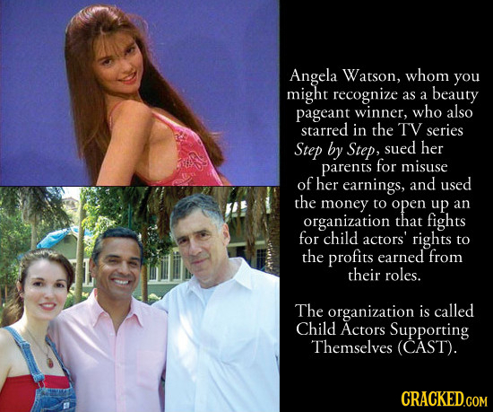 Angela Watson, whom you might recognize as a beauty pageant winner, who also starred in the TV series Step by Step, sued her parents for misuse of her