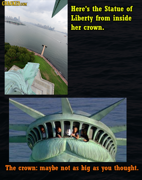 CRACKEDCON Here's the Statue of Liberty from inside her crown. AETTC The crown: maybe not as big as you thought.