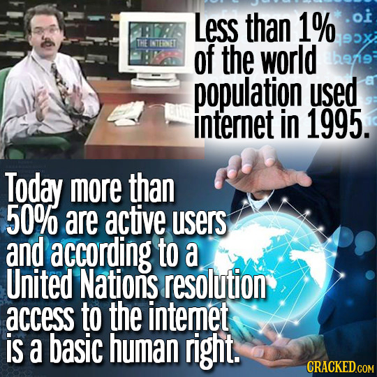 Less than 1% oi THE ITENET of the world beng population used internet in 1995. Today more than 50% are active users and according to a United Nations