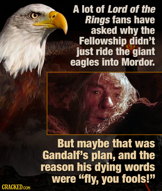 A lot of Lord of the Rings fans have asked why the Fellowship didn't just ride the giant eagles into Mordor. But maybe that was Gandalf's plan, and th