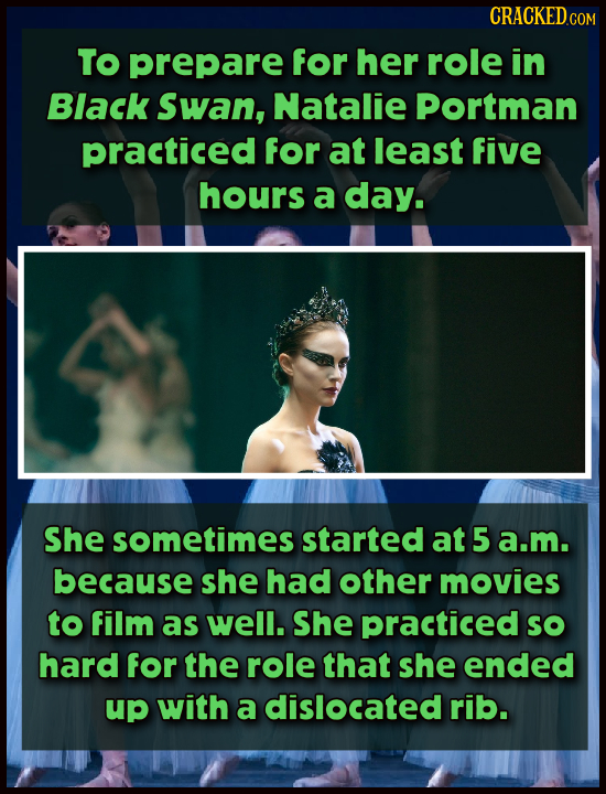 TO prepare for her role in Black Swan, Natalie Portman practiced for at least five hours a day. She sometimes started at 5 a.m. because she had other