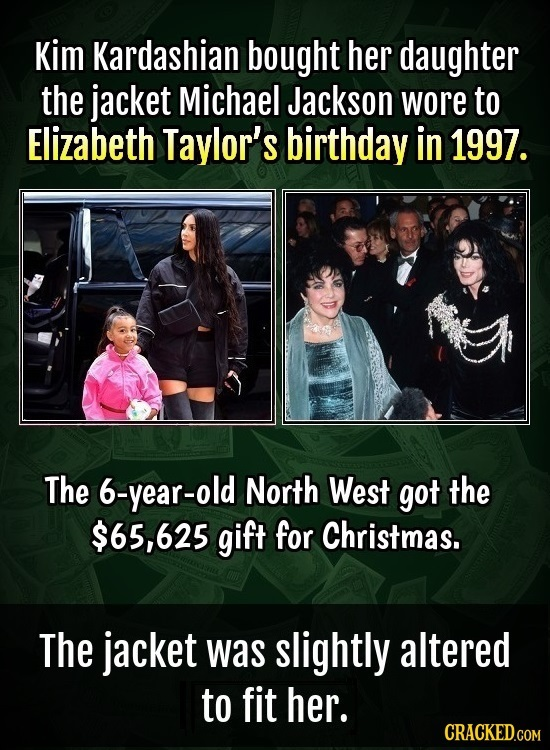 Kim Kardashian bought her daughter the jacket Michael Jackson wore to Elizabeth Taylor's birthday in 1997. The 6-year-old North West got the $65,625 g