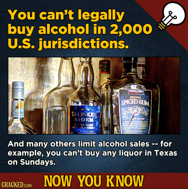 A Big Helping Of Little-Known About Movies (And Other Stuff)You can't legally buy alcohol in 000 U.S. jurisdictions.