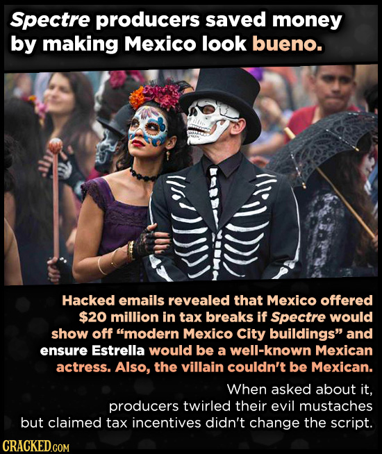 Spectre producers saved money by making Mexico look bueno. Hacked emails revealed that Mexico offered $20 million in tax breaks if Spectre would show