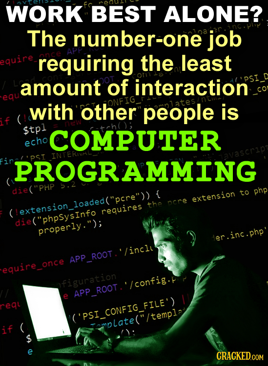 WORK BEST ALONE? The number-one job quire requiring the least amount of interaction equ with other people is $tpl COMPUTER echo INTE PROGRAMMING die(