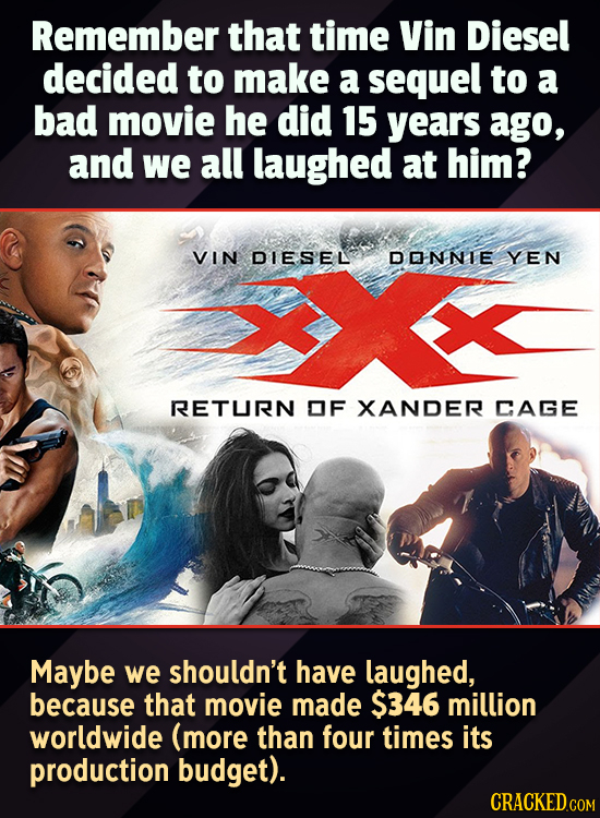 Remember that time Vin Diesel decided to make a sequel to a bad movie he did 15 years ago, and we all laughed at him? VIN DIESEL DONNLE YEN RETURN OF