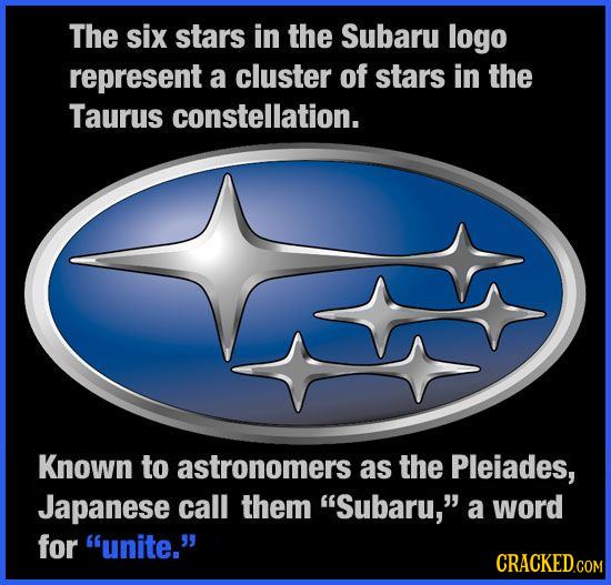 The six stars in the Subaru logo represent a cluster of stars in the Taurus constellation. Known to astronomers as the Pleiades, Japanese call them S