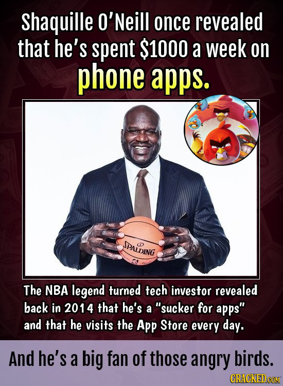 Shaquille O'Neill once revealed that he's spent $1000 a week on phone apps. PALDING O The NBA legend turned tech investor revealed back in 2014 that h