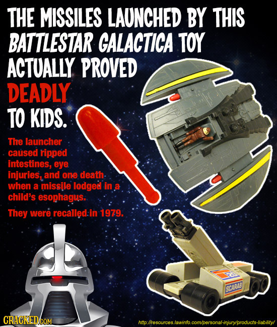 THE MISSILES LAUNCHED BY THIS BATTLESTAR GALACTICA TOY ACTUALLY PROVED DEADLY TO KIDS. The launcher caused ripped intestines, eye injuries, and one de