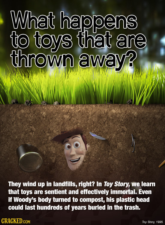What happens to toys that are thrown away? They wind up in landfills, right? In Toy Story, we learn that toys are sentient and effectively immortal. E
