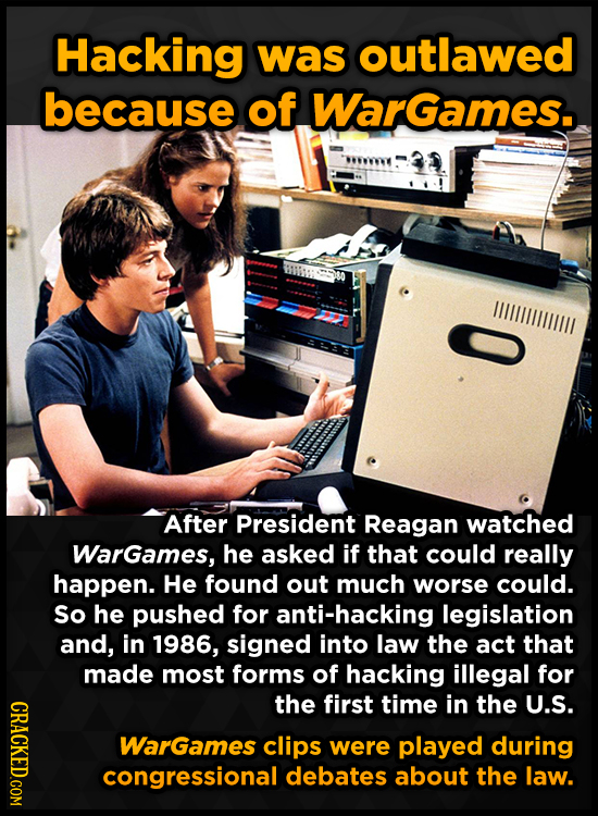 Hacking was outlawed because of Wargames. WIIILILIULL After President Reagan watched Wargames, he asked if that could really happen. He found out much