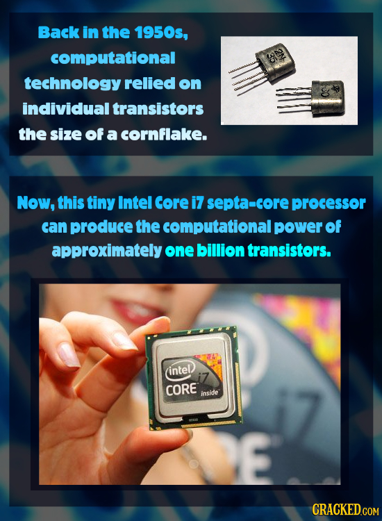 Back in the 1950s, computational technology relied on individual transistors the size of a cornflake. Now, this tiny Intel Core i7 septa-core processo
