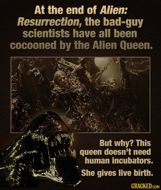 At the end of Alien: Resurrection, the bad-guy scientists have all been cocooned by the Alien Queen. But why? This queen doesn't need human incubators