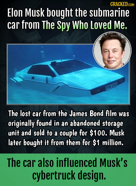 CRACKEDCON Elon Musk bought the submarine car from The spy Who Loved Me. PPW30681 The lost car from the James Bond film was originally found in an aba